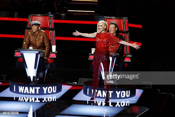 THE VOICE 'Blind Auditions' Pictured Pharrell Williams Gwen Stefani Blake Shelton