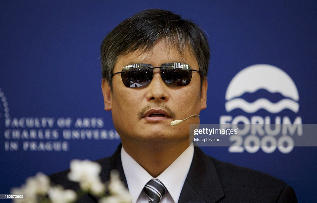 Blind Chinese civil right activist Chen Guangcheng attends the panel discussion during the 17th Forum 2000 Conference on September 17 2013 in Prague...