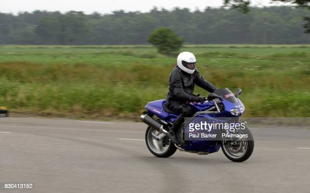 Blind Gordon Wilson from Hastings East Sussex reaches 654 mph in a practice run before his attempt to reach 100 mph solo on his unmodified Triumph...
