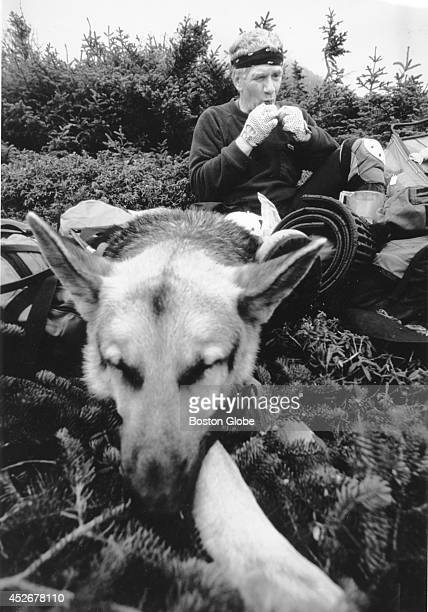 Blind hiker Bill Irwin rests on the Appalachian Trail with his dog 'Orient' in 1990