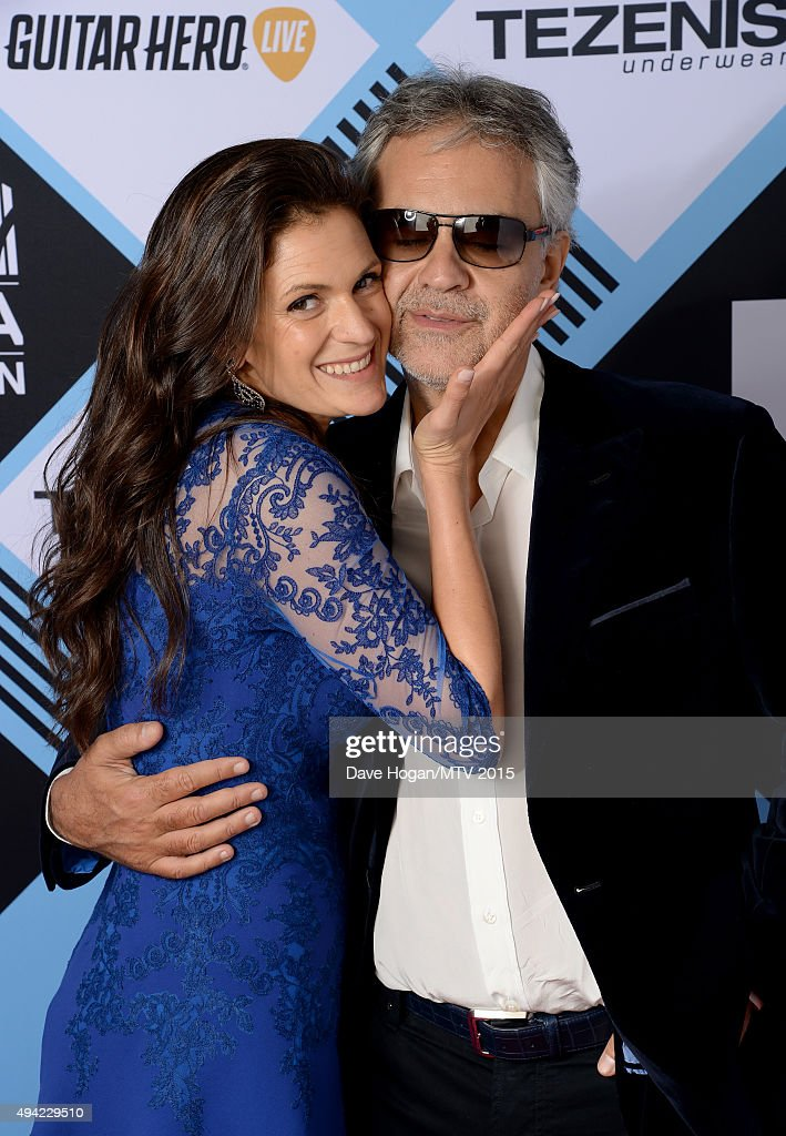 Blind Italian singer Andrea Bocelli and wife Veronica Berti pose for a portrait before the MTV EMA's at the Mediolanum Forum on October 25, 2015 in Milan, Italy.