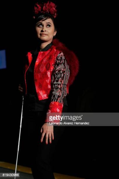 A blind model poses during Guatemalan fashion designer Isabella Springmühl show as part of IM Intermoda 2017 at Expo Guadalajara on July 19 2017 in...