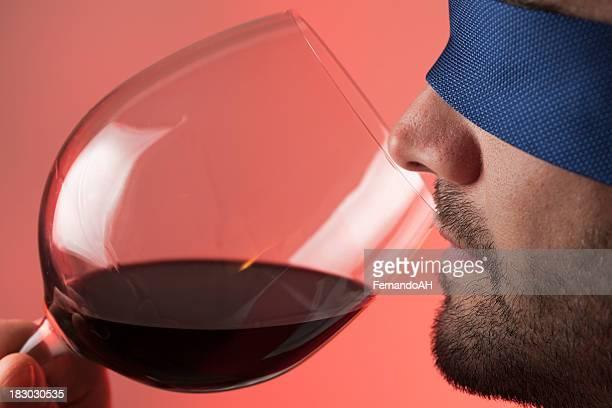 Blindfold wine tasting