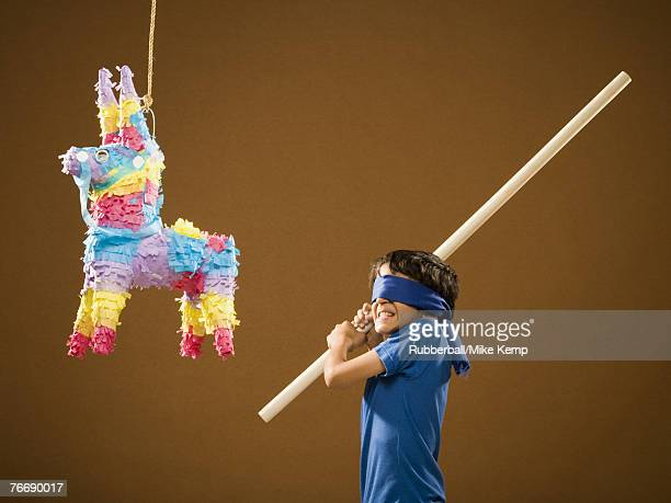 Blindfolded boy with stick and pinata