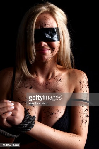 Blindfolded In Black : Stock Photo