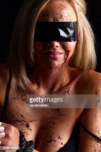 Blindfolded In Black : Stock Photo