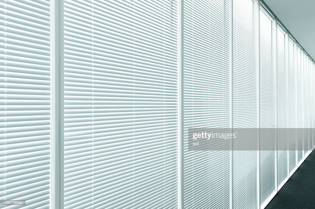 Blinds in office hallway,close up