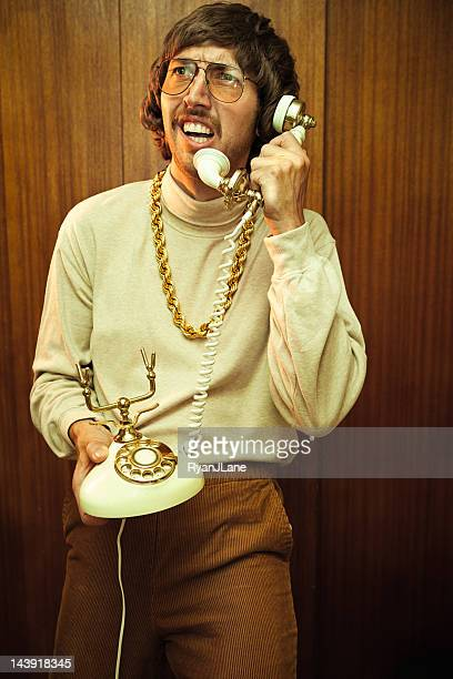 Bling Retro Mustache Man on Phone