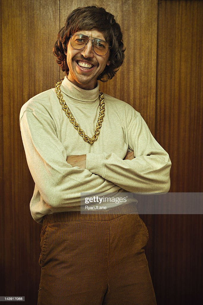 Bling Retro Mustache Man : Stock Photo