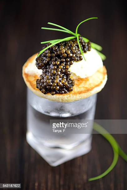 Blini and Real Black Caviar Appetizre with Vodka