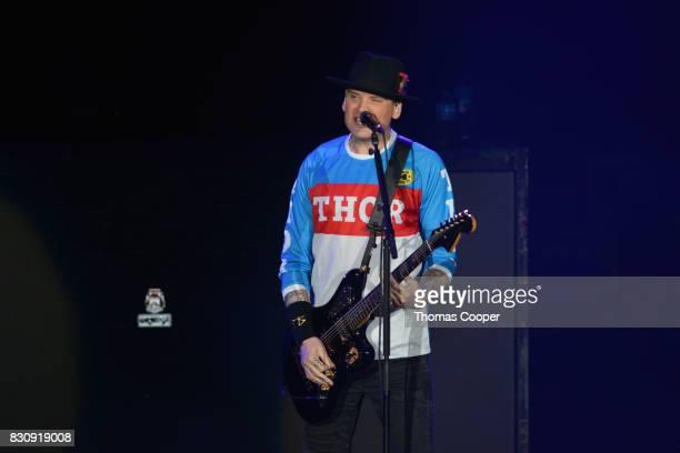 Blink 182 Guitarist Matt Skiba performs at the 933 Modern rock music festival 'Big Gig' at Fiddler's Green Amphitheatre on August 12 2017 in...