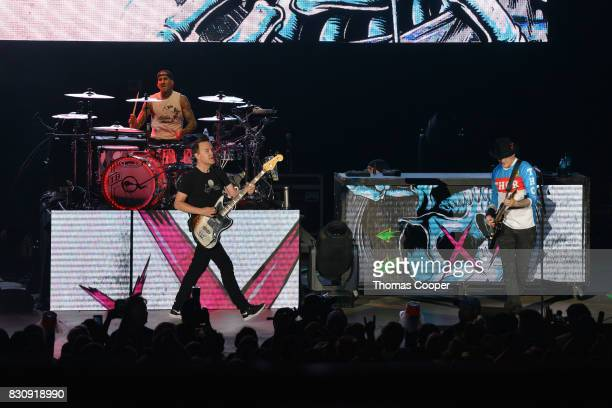 Blink 182 performs at the 933 Modern rock music festival 'Big Gig' at Fiddler's Green Amphitheatre on August 12 2017 in Englewood Colorado