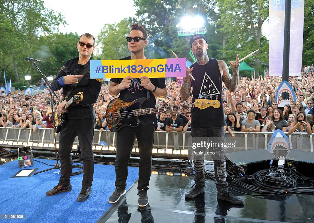 AMERICA Blink 182 performs live from Central Park in New York City as part of the Summer Concert Series on 'Good Morning America' 7/1/16 airing on...