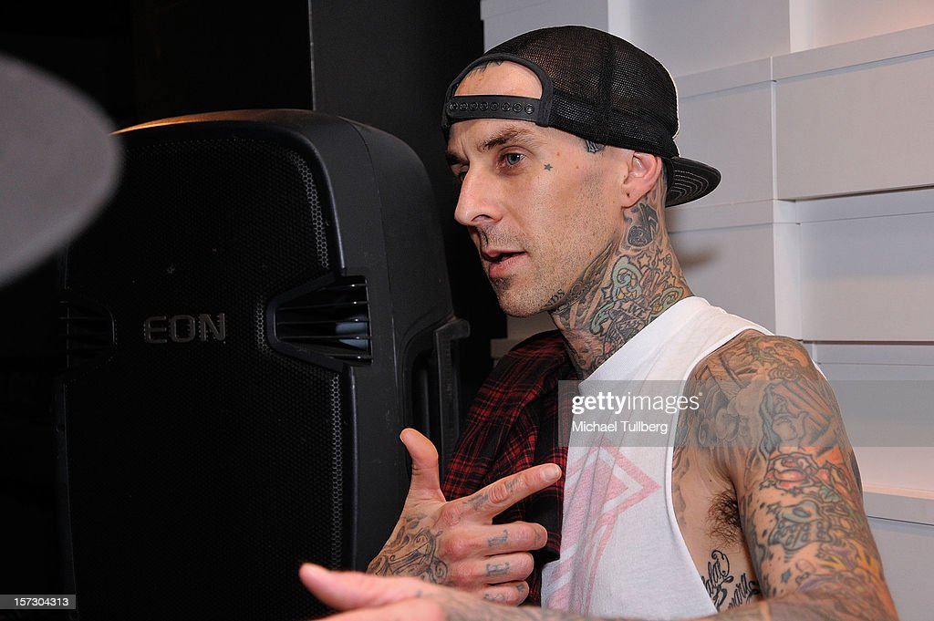 Blink-182 drummer <a gi-track='captionPersonalityLinkClicked' href=/galleries/search?phrase=Travis+Barker&family=editorial&specificpeople=213206 ng-click='$event.stopPropagation()'>Travis Barker</a> attends the launching of the One Life One Chance web store on December 1, 2012 in Los Angeles, California.