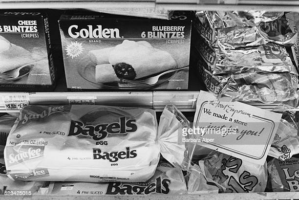 Blintzes and bagels in the frozen section of The Food Emporium grocery store New York City USA September 1988