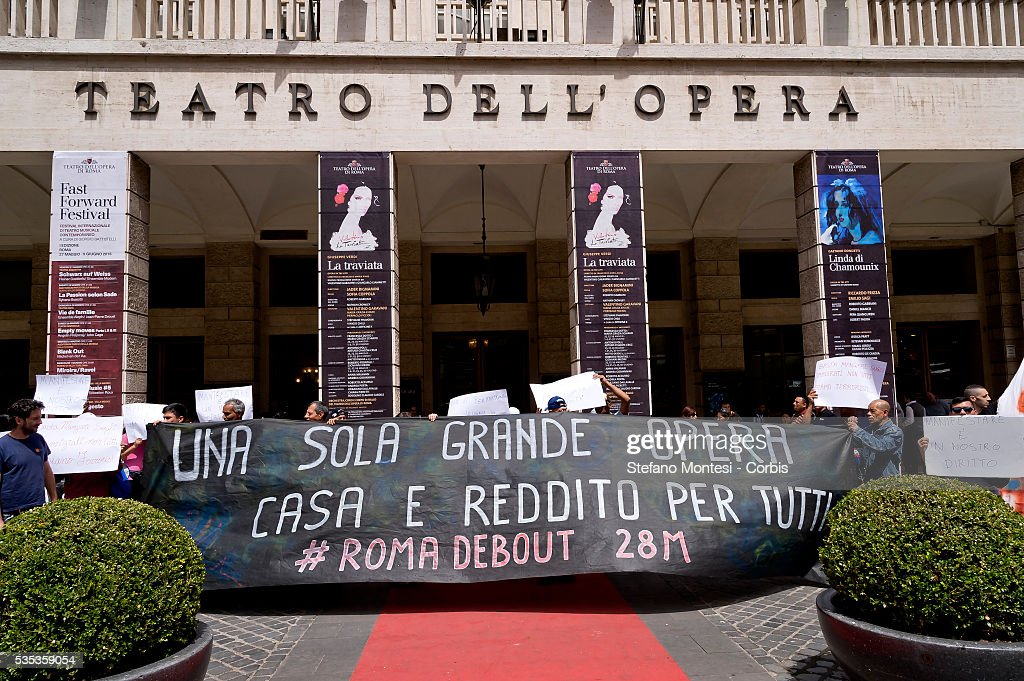 Blitz of movements for the right to housing at the Rome Opera House. The movements gathered in #Romadebout occupied the Teatro dell'Opera in Rome in preparation for the demonstration on May 28 that will start from Porta Pia. 'We occupied the Opera House. There are no inviolable places,' say the movements explaining that the action is 'against the electoral theater.' on May 27, 2016 in Rome, Italy. (Photo by Stefano Montesi/Corbis via Getty Images).