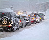 Blizzard on the road. Photo taken 07. februar 2013 in Slovakia Europe town Liptovsky Mikulas. Heavy snowfall paralyzed traffic for several hours.