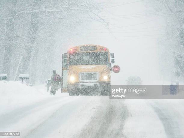 Blizzard Run for School Bus
