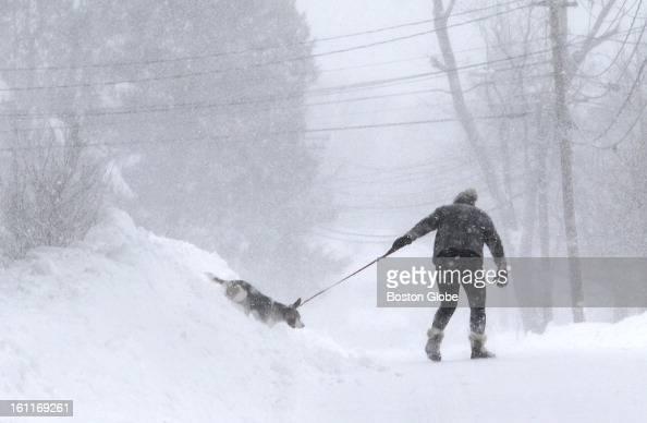 Blizzard snow scenes in Wellesley Mass