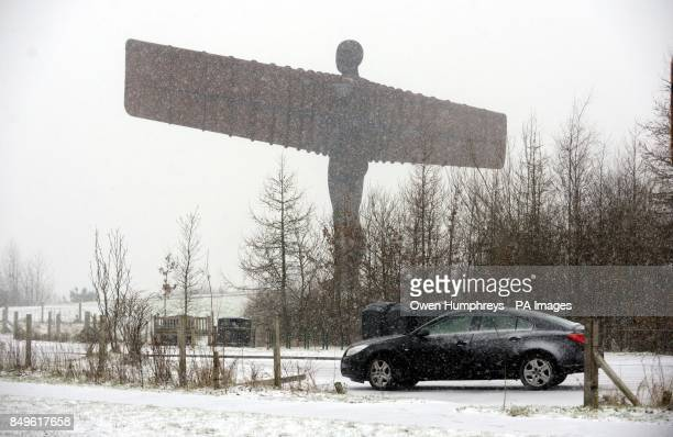 Blizzards near the Angel of the North Gateshead