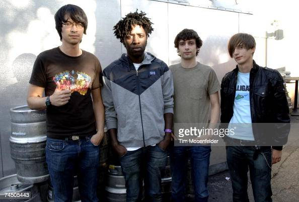 Bloc Party Matt Tong Kele Okereke Gordon Moakes and Russell Lissack backstage at Live 105's BFD 2007 at Shoreline Amphitheatre on June 09 2007 in...