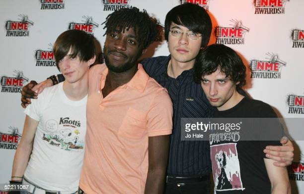 Bloc Party pose in the Awards Room at The Shockwaves NME Awards 2005 at Hammersmith Palais on February 17 2005 in London The annual music awards sees...