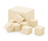 Block and cubes of Tofu isolated on white