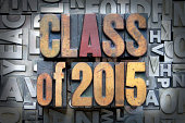 Class of 2015 written in vintage letterpress type