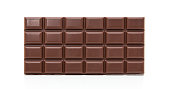 Fine block of chocolate. All on white background.