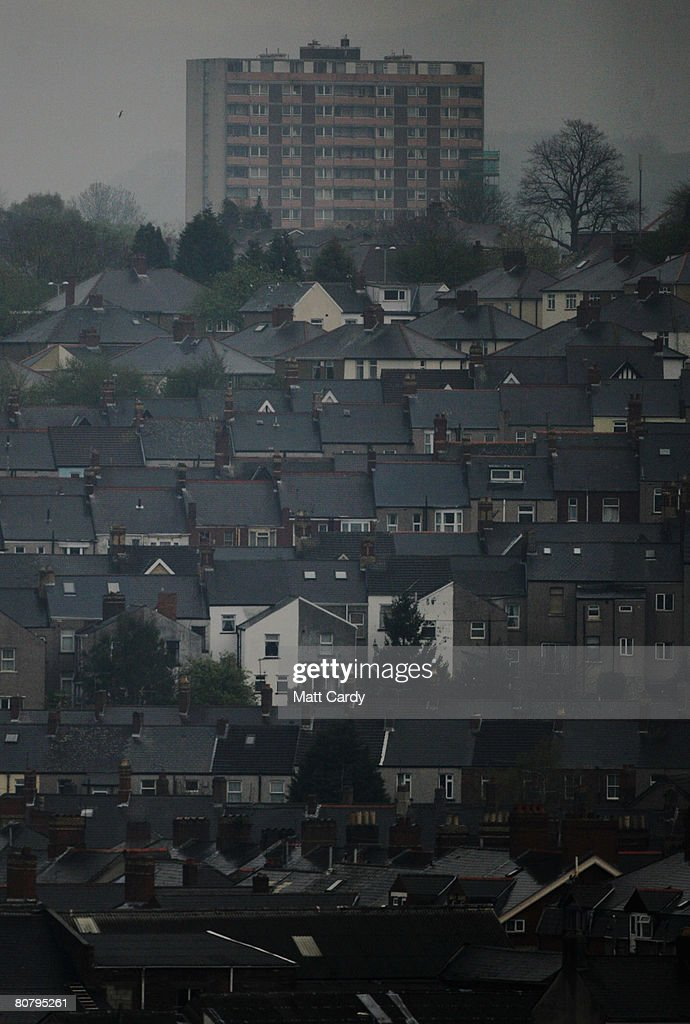 A block of flats overlooks residential streets on April 21 2008 in Newport Wales A poll by researchers Fitch has revealed 10 'subprime' blackspots...