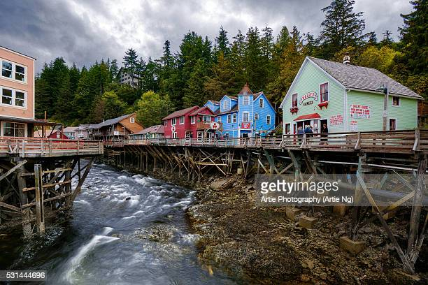 A Block of Fourth Avenue in Fairbanks Along Creek Street, Downtown of Ketchikan, Alaska, United States of America
