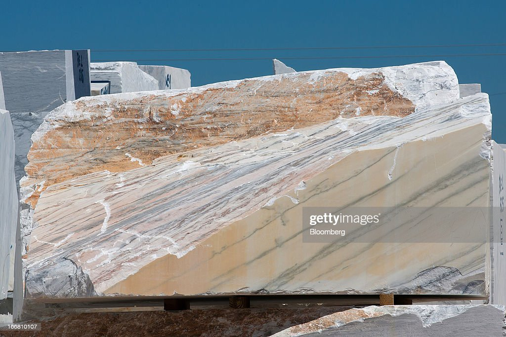 A block of raw marble stands in the yard at the Bloco B quarry in Estremoz, Portugal, on Wednesday, April 17, 2013. Portugal is posting its first trade surplus in at least six decades, which may help vindicate a strategy of front-loading austerity to deliver economic reform. Photographer: Mario Proenca/Bloomberg via Getty Images