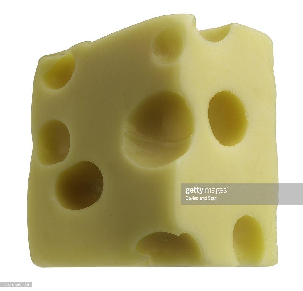 Block of Swiss cheese : Stock Photo