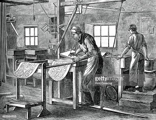 Block printers at work c1880 Using blocks to print fabric A print from Great Industries of Great Britain Volume I published by Cassell Petter and...