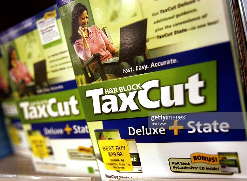 Block TaxCut software lie on display at a Best Buy store March 23, 2006 in Niles, Illinois. As next month's income tax deadline approaches, Americans are preparing for it by using tax software, filing out paper forms or by using a tax preparer.