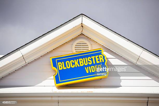 Blockbuster Video Sign Above Entrance to Store