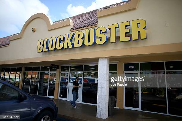 Blockbuster video store is seen on November 6 2013 in Miami Florida Blockbuster announced today that it will close its 300 remaining US stores by...