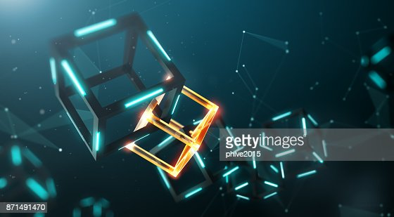 Blockchain technology with abstract background : Stock Photo