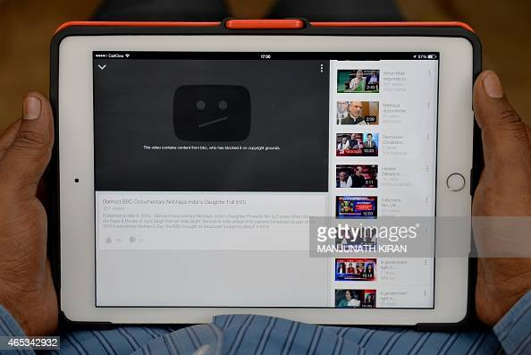 A blocked message is displayed on YouTube in the place of a BBC documentary on the victim of a December 2012 gangrape in Bangalore on March 6 2015...