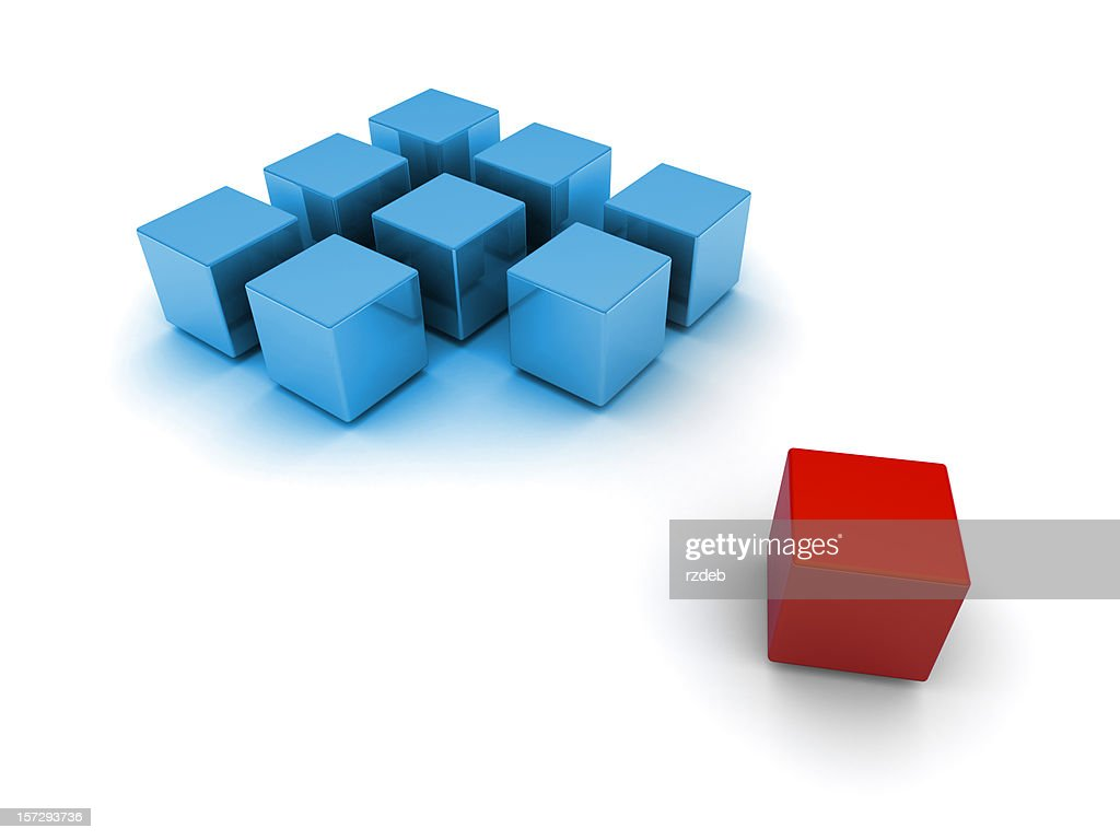 Blocks 3d blue and red : Stock Photo