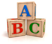 """ABC letters, baby toys, wooden blocks with alphabet letters.Digitally generated image. Isolated on white background."""