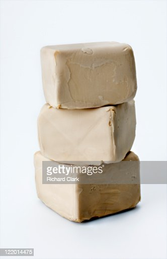 Blocks of fresh yeast
