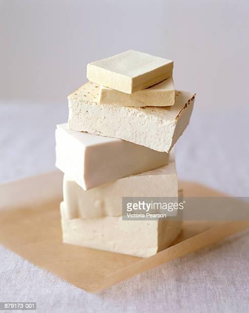 Blocks of tofu arranged in stack