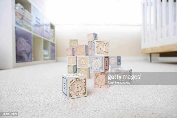 Blocks on nursery floor