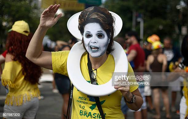 A 'bloco da rua' or street carnival band protests corruption under the theme 'Lava Jato' or Car Wash the federal police investigation launched in...