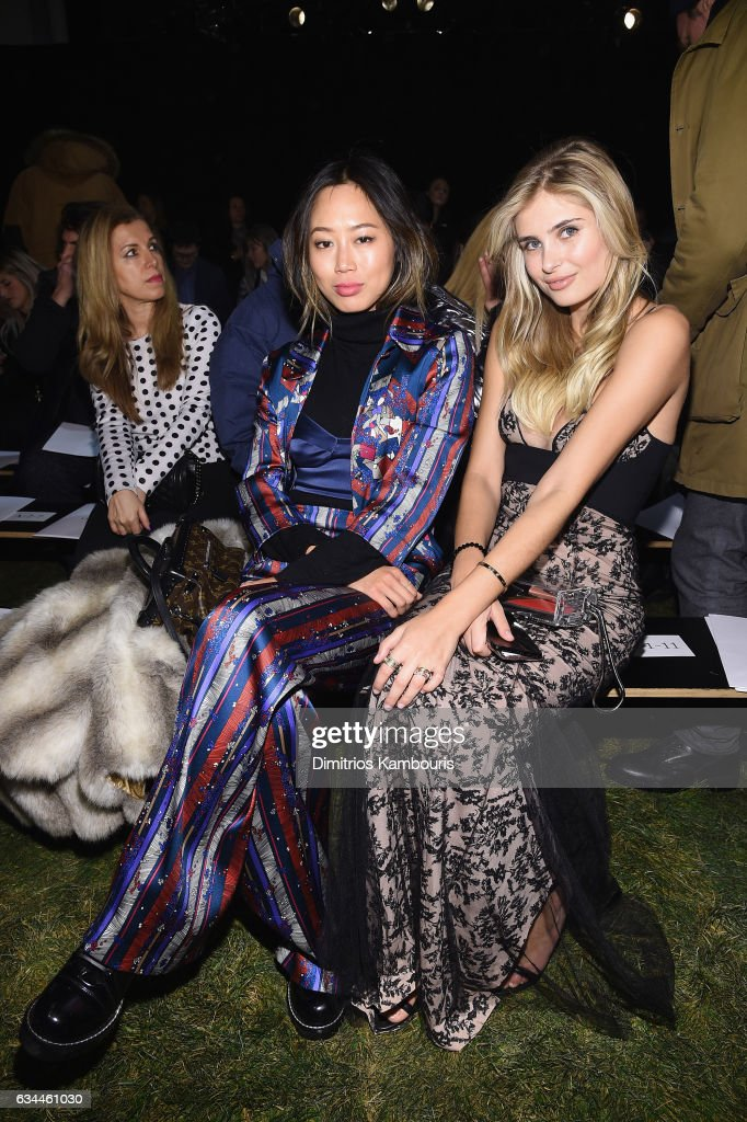 Blogger Aimee Song and Blogger Xenia Van Der Woodsen attend a front row during La Perla Fall/Winter 2017 RTW Show at SIR Stage 37 on February 9, 2017 in New York City.