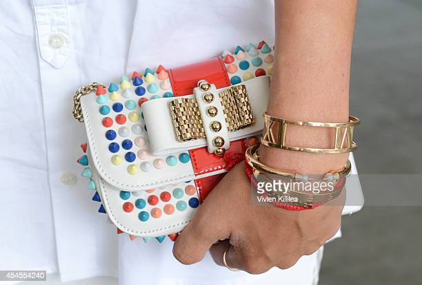 Blogger Aimee Song front row at Kye MercedesBenz Fashion Week Spring 2015 at Pier 59 on September 3 2014 in New York City