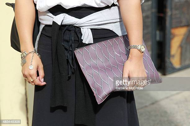 Blogger Amanda Jo wearing Dion Lee Country Road and a Kenzo clutch attends the Dion Lee show during MercedesBenz Fashion Week Australia 2014 at 7...