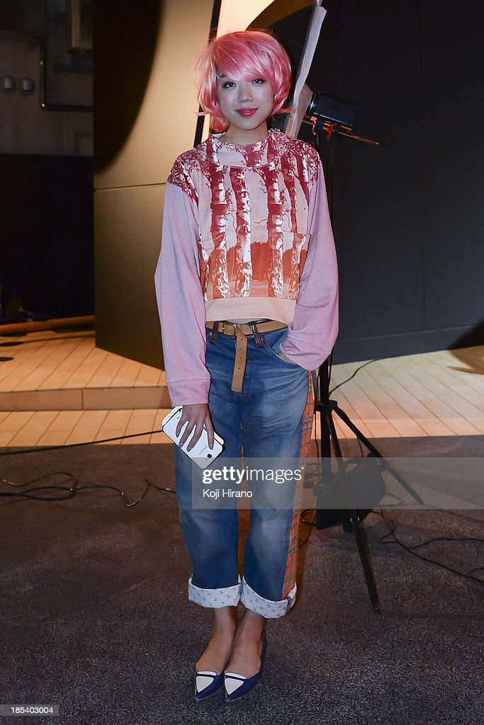 Blogger and fashionist Susie Bubble wears a top by Junya Watanabe, and a jean by Balenciaga at Mercedes-Benz Fashion Week Tokyo Spring/Summer 2014 at Benz Connection at Roppongi on October 18, 2013 in Tokyo, Japan.