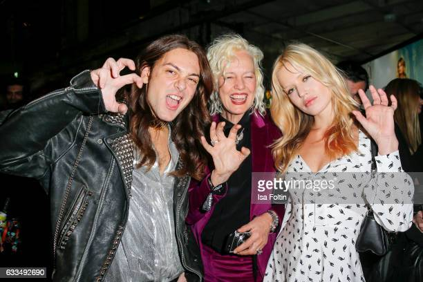 Blogger and Influencer Riccardo Simonetti photographer Ellen von Unwerth and british model Georgia May Jagger attend the Presentation of the new Opel...